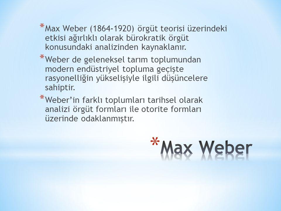 * Max Weber (1864-1920) örgüt teorisi üzerindeki etkisi ağırlıklı olarak bürokratik örgüt konusundaki analizinden kaynaklanır.