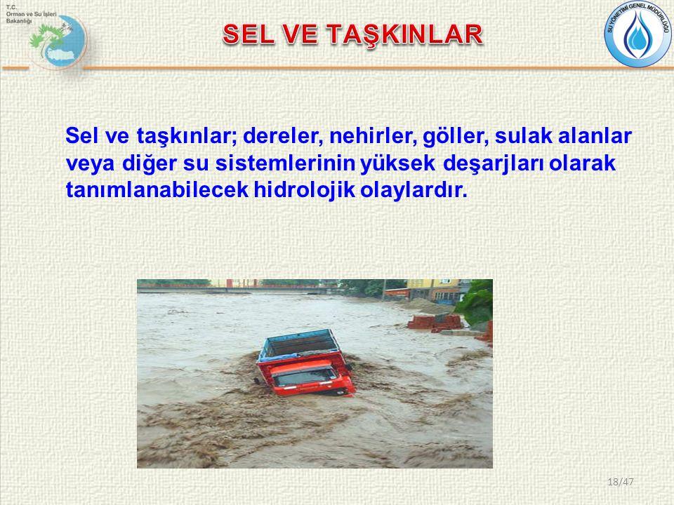 Sel ve taşkınlar; dereler, nehirler, göller, sulak alanlar veya diğer su sistemlerinin yüksek deşarjları olarak tanımlanabilecek hidrolojik olaylardır