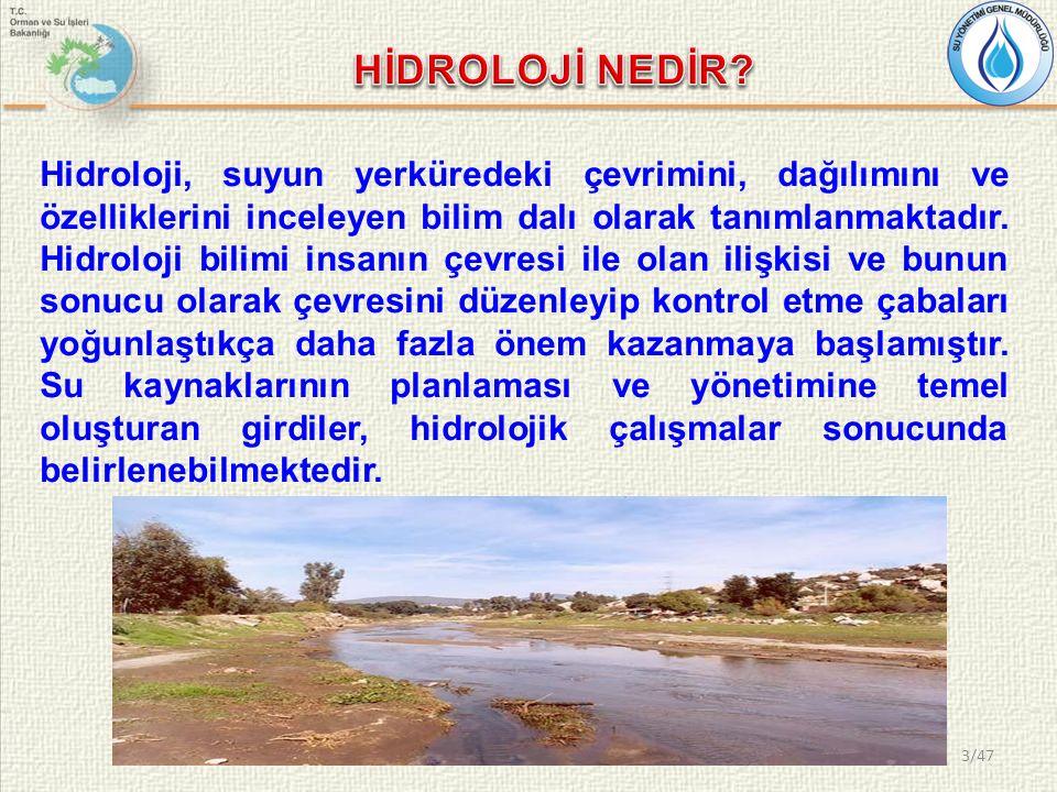 Hidroloji, suyun yerküredeki çevrimini, dağılımını ve özelliklerini inceleyen bilim dalı olarak tanımlanmaktadır. Hidroloji bilimi insanın çevresi ile