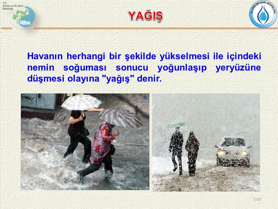 Havanın herhangi bir şekilde yükselmesi ile içindeki nemin soğuması sonucu yoğunlaşıp yeryüzüne düşmesi olayına yağış denir.