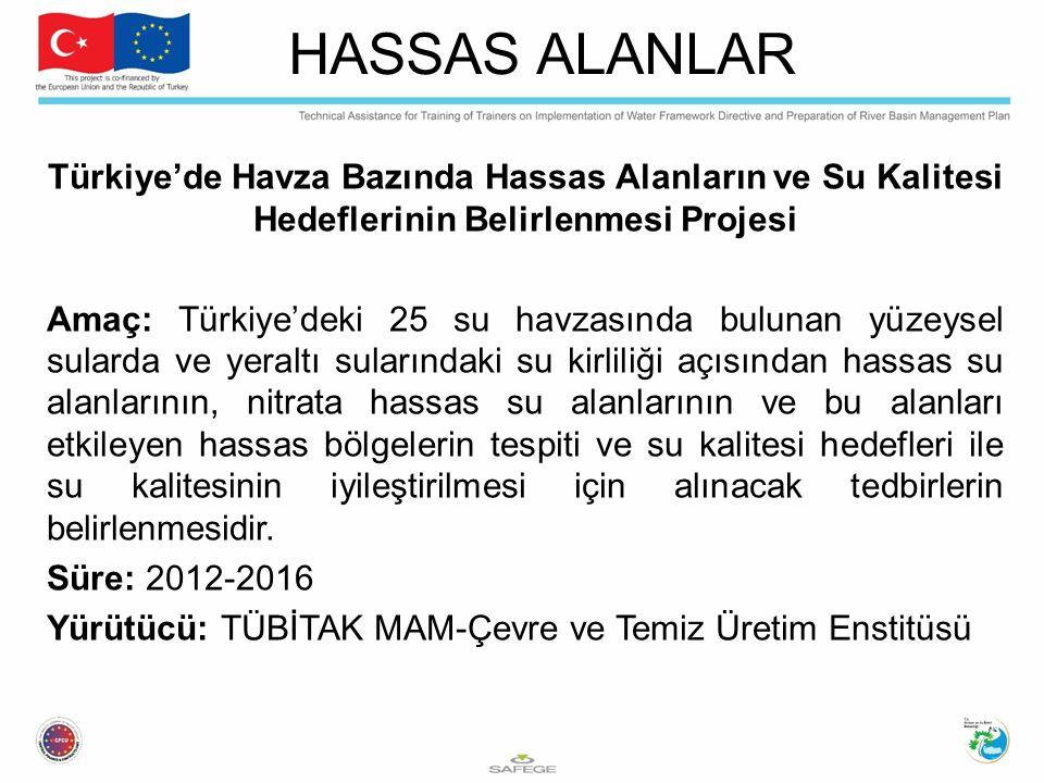 Türkiye'de Havza Bazında Hassas Alanların ve Su Kalitesi Hedeflerinin Belirlenmesi Projesi Amaç: Türkiye'deki 25 su havzasında bulunan yüzeysel sulard
