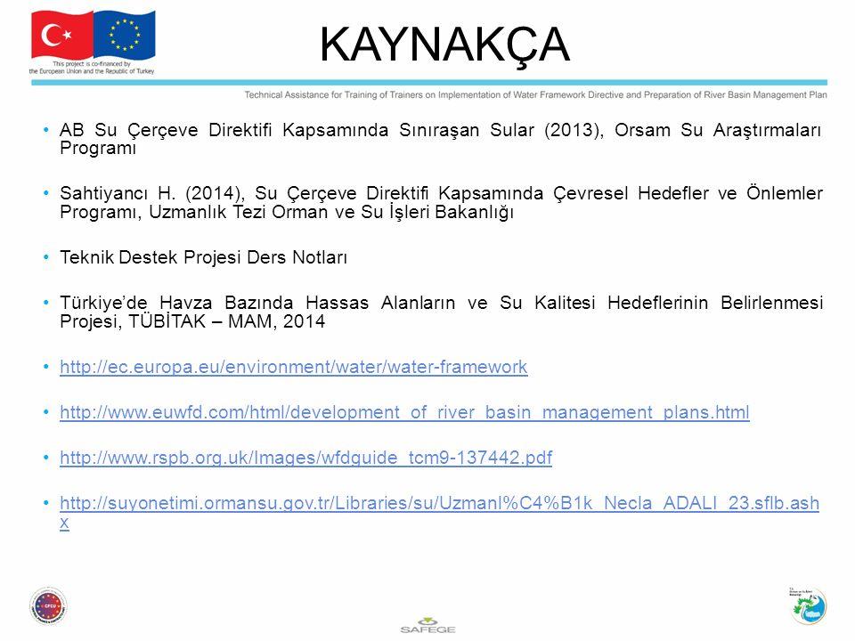 AB Su Çerçeve Direktifi Kapsamında Sınıraşan Sular (2013), Orsam Su Araştırmaları Programı Sahtiyancı H. (2014), Su Çerçeve Direktifi Kapsamında Çevre