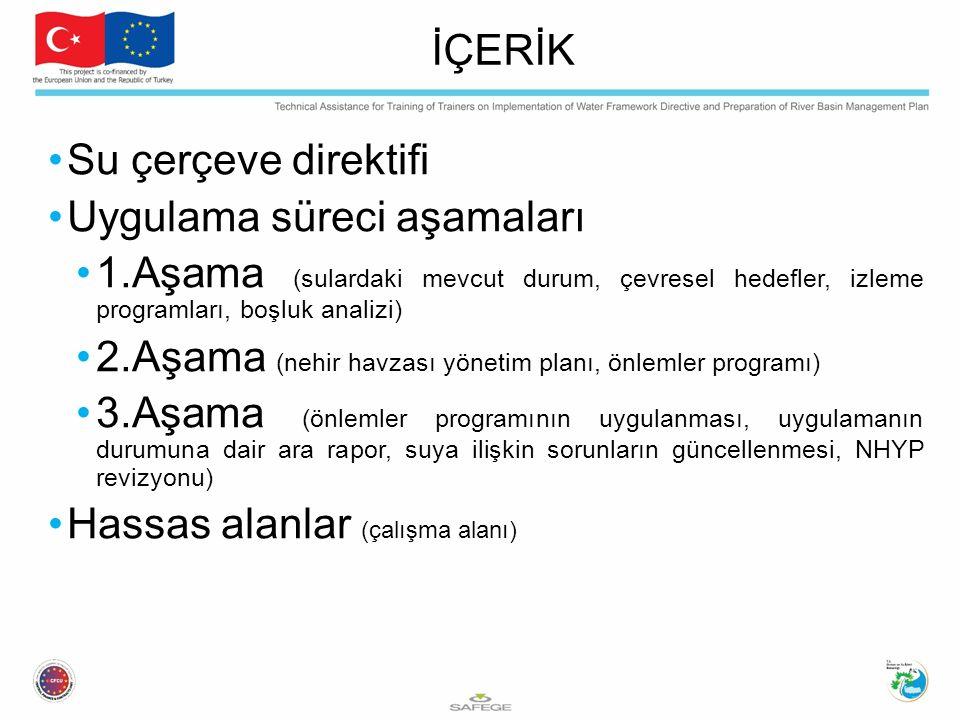 Su çerçeve direktifi Uygulama süreci aşamaları 1.Aşama (sulardaki mevcut durum, çevresel hedefler, izleme programları, boşluk analizi) 2.Aşama (nehir