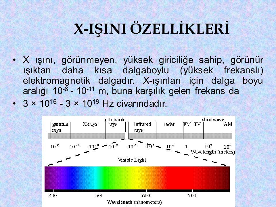 X-IŞINI ÖZELLİKLERİ X ışını, görünmeyen, yüksek giriciliğe sahip, görünür ışıktan daha kısa dalgaboylu (yüksek frekanslı) elektromagnetik dalgadır.