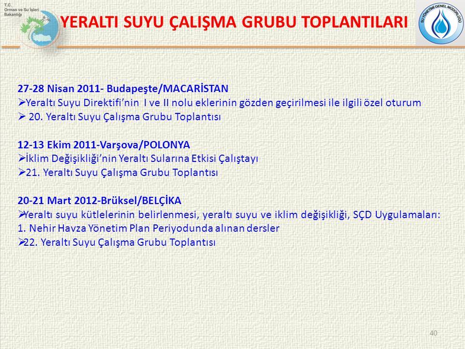 YERALTI SUYU ÇALIŞMA GRUBU TOPLANTILARI 40 27-28 Nisan 2011- Budapeşte/MACARİSTAN  Yeraltı Suyu Direktifi'nin I ve II nolu eklerinin gözden geçirilmesi ile ilgili özel oturum  20.