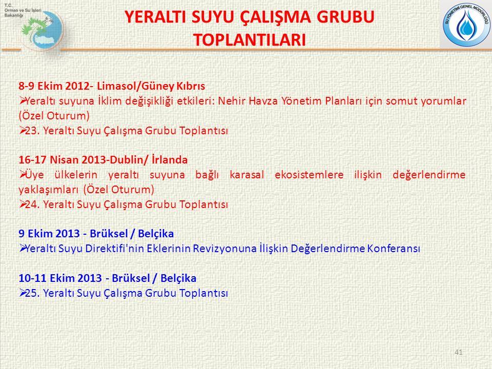 YERALTI SUYU ÇALIŞMA GRUBU TOPLANTILARI 41 8-9 Ekim 2012- Limasol/Güney Kıbrıs  Yeraltı suyuna İklim değişikliği etkileri: Nehir Havza Yönetim Planları için somut yorumlar (Özel Oturum)  23.