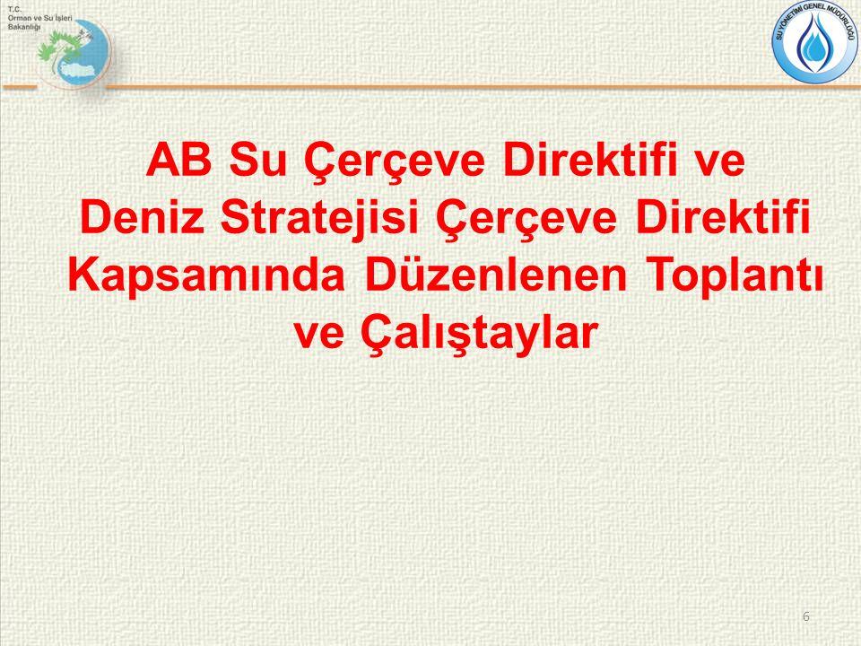 6 AB Su Çerçeve Direktifi ve Deniz Stratejisi Çerçeve Direktifi Kapsamında Düzenlenen Toplantı ve Çalıştaylar