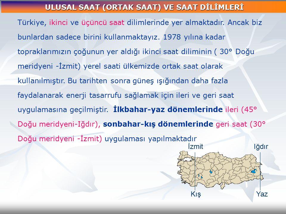 Türkiye, ikinci ve üçüncü saat dilimlerinde yer almaktadır. Ancak biz bunlardan sadece birini kullanmaktayız. 1978 yılına kadar topraklarımızın çoğunu