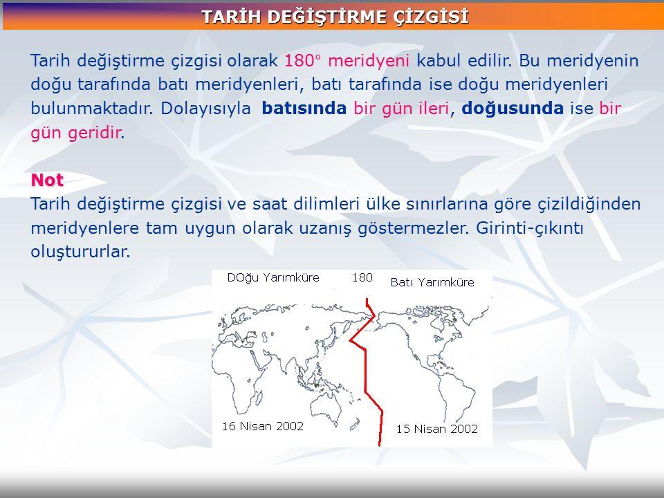Tarih değiştirme çizgisi olarak 180° meridyeni kabul edilir. Bu meridyenin doğu tarafında batı meridyenleri, batı tarafında ise doğu meridyenleri bulu