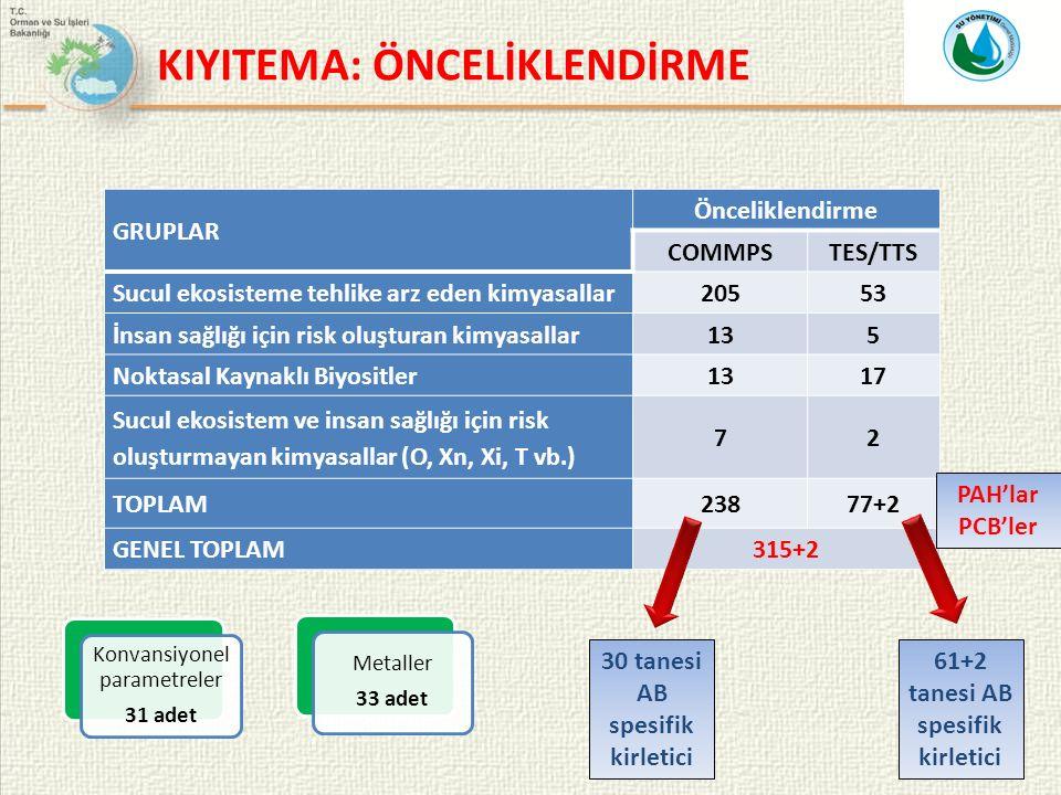19 GRUPLAR Önceliklendirme COMMPSTES/TTS Sucul ekosisteme tehlike arz eden kimyasallar20553 İnsan sağlığı için risk oluşturan kimyasallar135 Noktasal Kaynaklı Biyositler1317 Sucul ekosistem ve insan sağlığı için risk oluşturmayan kimyasallar (O, Xn, Xi, T vb.) 72 TOPLAM23877+2 GENEL TOPLAM315+2 PAH'lar PCB'ler Konvansiyonel parametreler 31 adet Metaller 33 adet 30 tanesi AB spesifik kirletici 61+2 tanesi AB spesifik kirletici KIYITEMA: ÖNCELİKLENDİRME