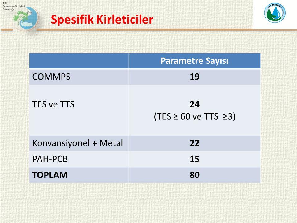 Spesifik Kirleticiler Parametre Sayısı COMMPS19 TES ve TTS24 (TES ≥ 60 ve TTS ≥3) Konvansiyonel + Metal22 PAH-PCB15 TOPLAM80