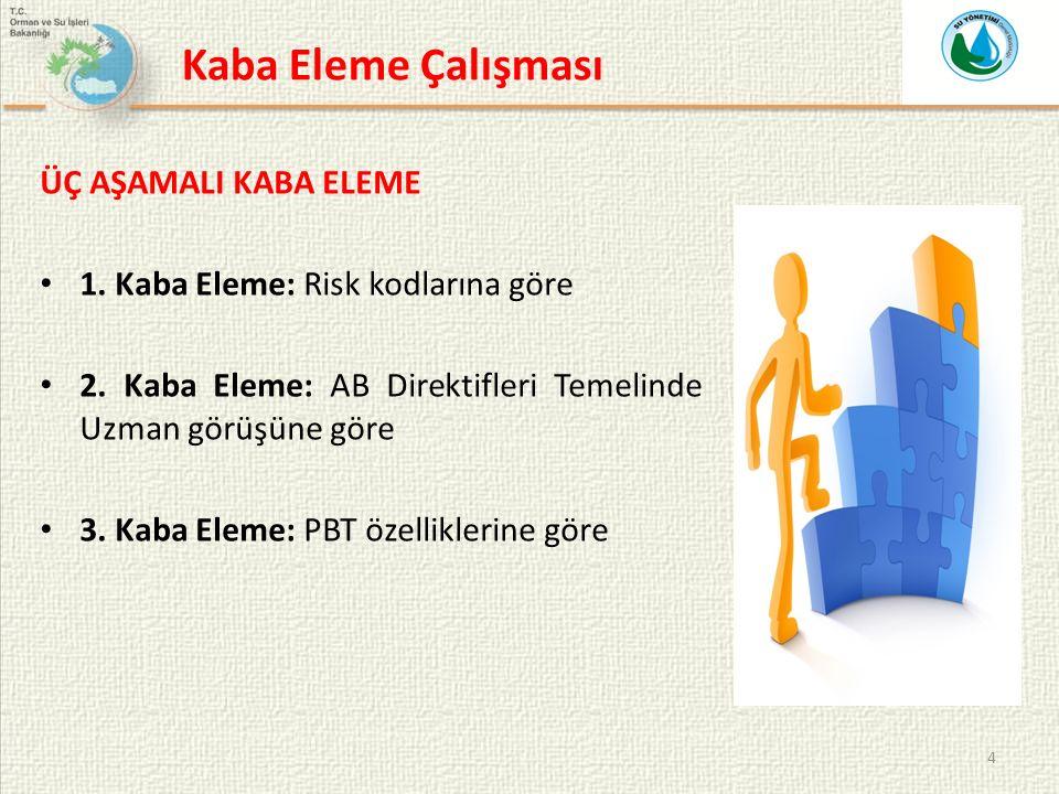 4 ÜÇ AŞAMALI KABA ELEME 1. Kaba Eleme: Risk kodlarına göre 2.