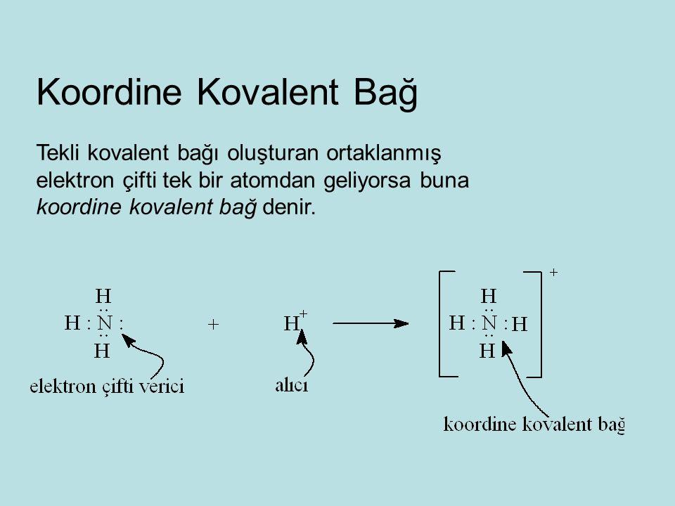 Koordine Kovalent Bağ Tekli kovalent bağı oluşturan ortaklanmış elektron çifti tek bir atomdan geliyorsa buna koordine kovalent bağ denir.
