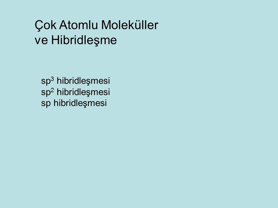 Çok Atomlu Moleküller ve Hibridleşme sp 3 hibridleşmesi sp 2 hibridleşmesi sp hibridleşmesi