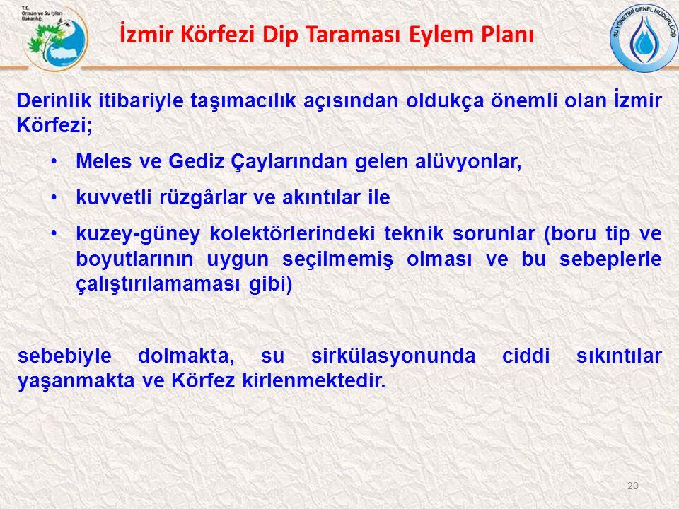 20 Derinlik itibariyle taşımacılık açısından oldukça önemli olan İzmir Körfezi; Meles ve Gediz Çaylarından gelen alüvyonlar, kuvvetli rüzgârlar ve akı