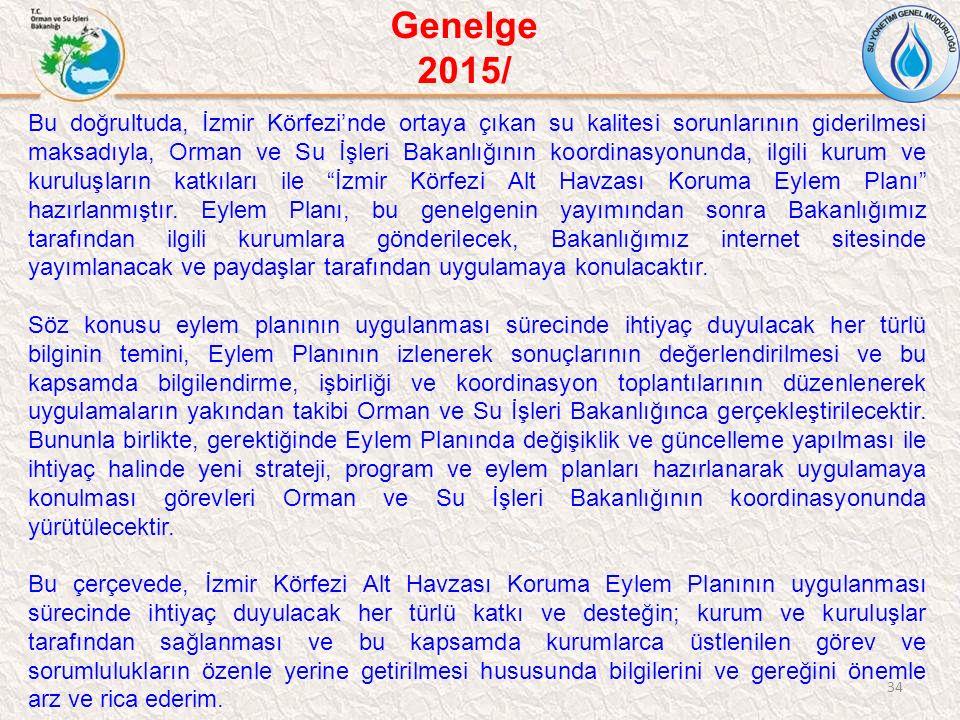 34 Bu doğrultuda, İzmir Körfezi'nde ortaya çıkan su kalitesi sorunlarının giderilmesi maksadıyla, Orman ve Su İşleri Bakanlığının koordinasyonunda, il