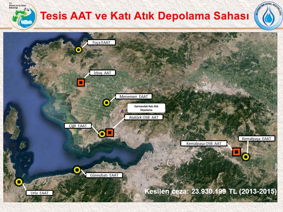 5 Tesis AAT ve Katı Atık Depolama Sahası Kesilen ceza: 23.930.199 TL (2013-2015)