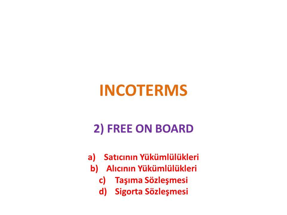 INCOTERMS 2) FREE ON BOARD a)Satıcının Yükümlülükleri b)Alıcının Yükümlülükleri c)Taşıma Sözleşmesi d)Sigorta Sözleşmesi