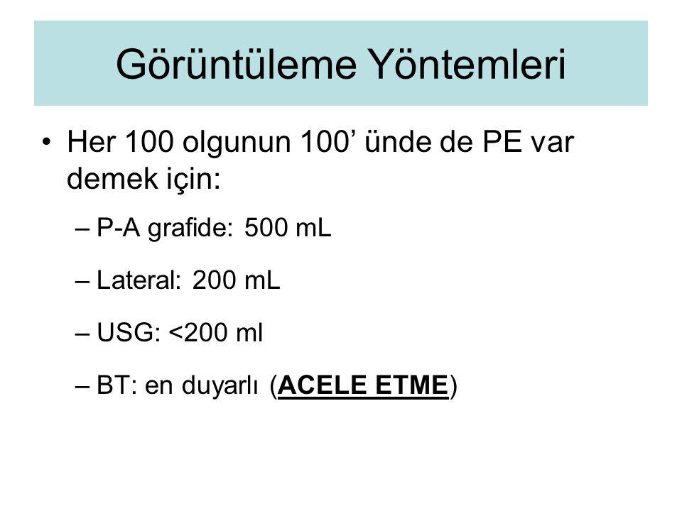 Görüntüleme Yöntemleri Her 100 olgunun 100' ünde de PE var demek için: –P–P-A grafide: 500 mL –L–Lateral: 200 mL –U–USG: <200 ml –B–BT: en duyarlı (AC