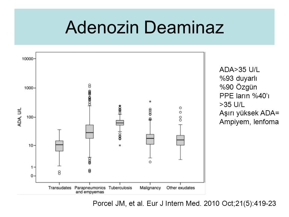 Adenozin Deaminaz Porcel JM, et al. Eur J Intern Med. 2010 Oct;21(5):419-23 ADA>35 U/L %93 duyarlı %90 Özgün PPE ların %40'ı >35 U/L Aşırı yüksek ADA=