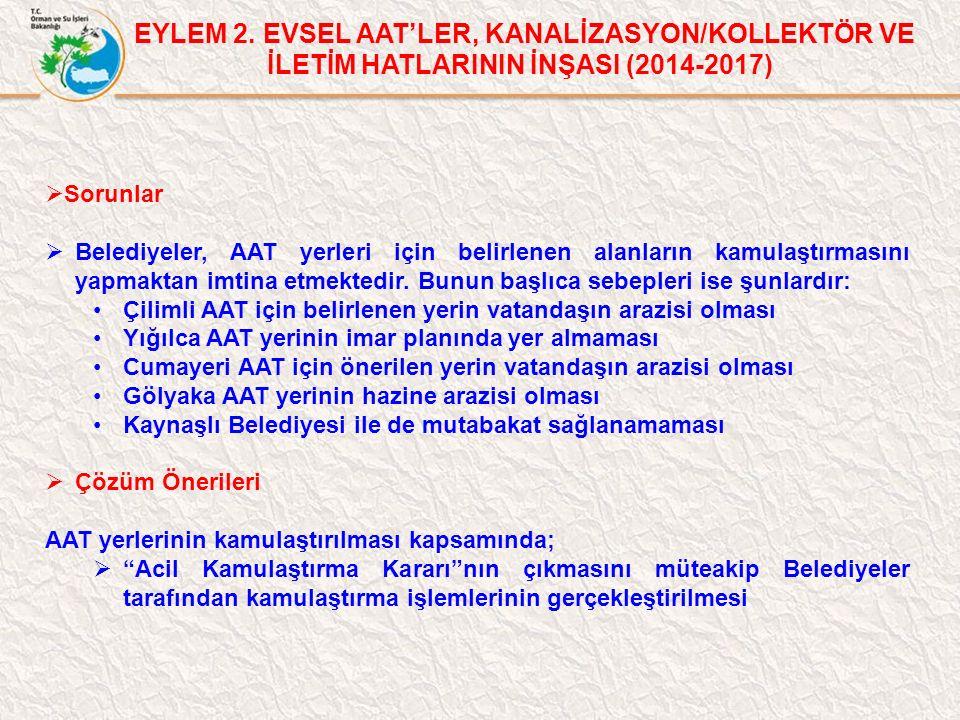EYLEM 2. EVSEL AAT'LER, KANALİZASYON/KOLLEKTÖR VE İLETİM HATLARININ İNŞASI (2014-2017)  Sorunlar  Belediyeler, AAT yerleri için belirlenen alanların