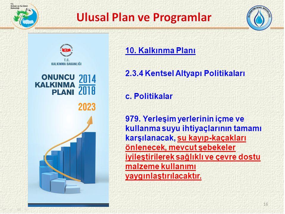 10. Kalkınma Planı 2.3.4 Kentsel Altyapı Politikaları c. Politikalar 979. Yerleşim yerlerinin içme ve kullanma suyu ihtiyaçlarının tamamı karşılanacak