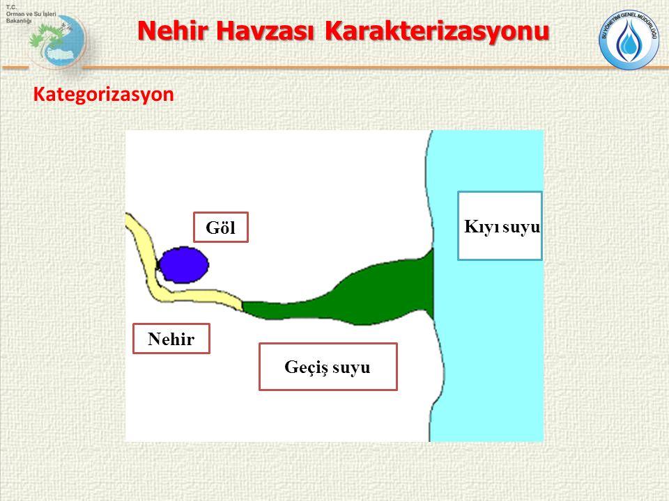 Göl Nehir Geçiş suyu Kıyı suyu Nehir Havzası Karakterizasyonu Kategorizasyon