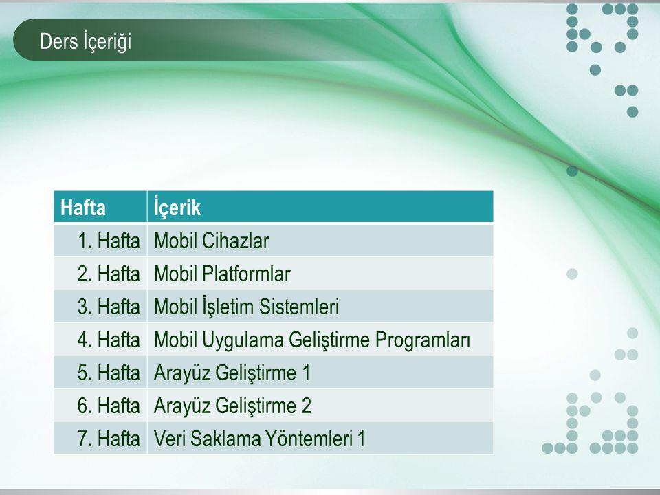 Ders İçeriği Haftaİçerik 1. HaftaMobil Cihazlar 2. HaftaMobil Platformlar 3. HaftaMobil İşletim Sistemleri 4. HaftaMobil Uygulama Geliştirme Programla