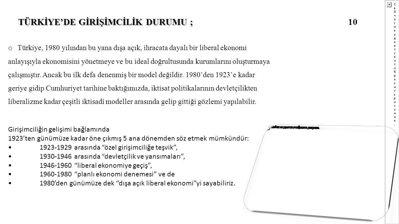 10 TÜRKİYE'DE GİRİŞİMCİLİK DURUMU ; o Türkiye, 1980 yılından bu yana dışa açık, ihracata dayalı bir liberal ekonomi anlayışıyla ekonomisini yönetmeye