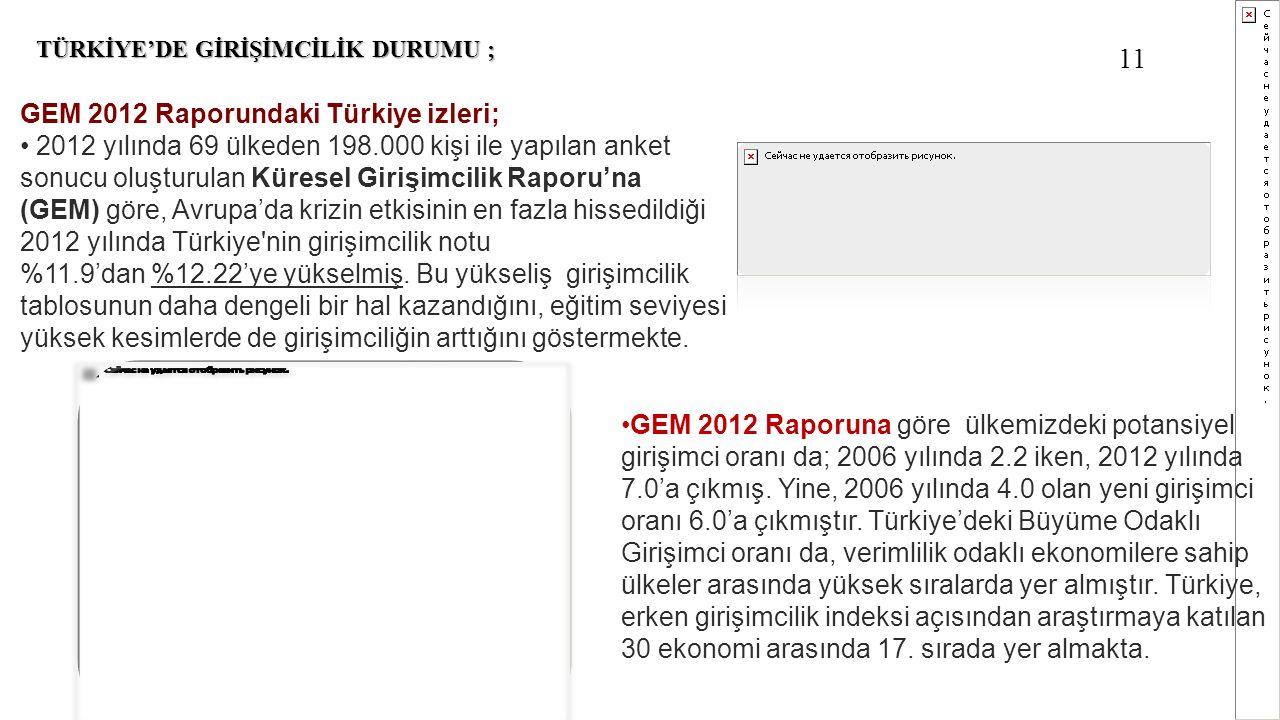 TÜRKİYE'DE GİRİŞİMCİLİK DURUMU ; GEM 2012 Raporundaki Türkiye izleri; 2012 yılında 69 ülkeden 198.000 kişi ile yapılan anket sonucu oluşturulan Kürese