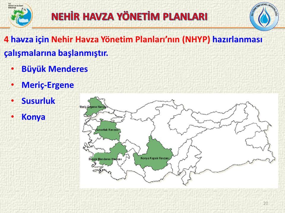 . 4 havza için Nehir Havza Yönetim Planları'nın (NHYP) hazırlanması çalışmalarına başlanmıştır. Büyük Menderes Meriç-Ergene Susurluk Konya 20