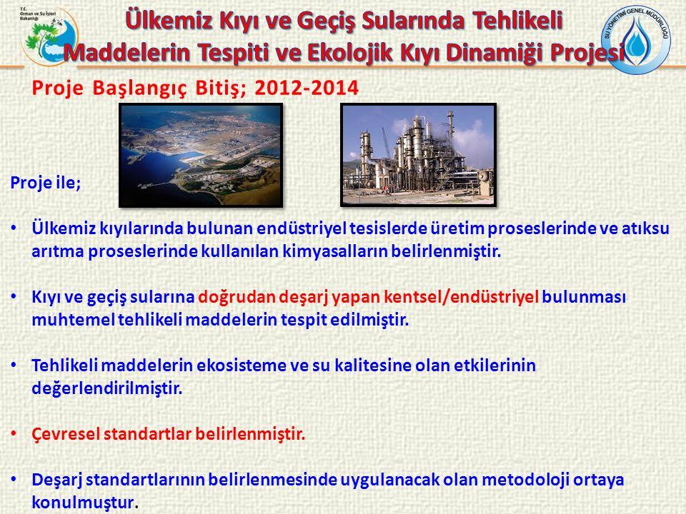 Proje Başlangıç Bitiş; 2012-2014 Proje ile; Ülkemiz kıyılarında bulunan endüstriyel tesislerde üretim proseslerinde ve atıksu arıtma proseslerinde kullanılan kimyasalların belirlenmiştir.