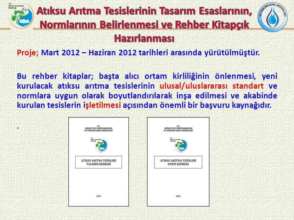 Proje; Mart 2012 – Haziran 2012 tarihleri arasında yürütülmüştür. Bu rehber kitaplar; başta alıcı ortam kirliliğinin önlenmesi, yeni kurulacak atıksu