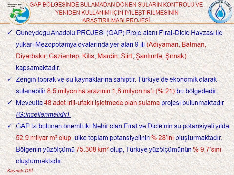 GAP BÖLGESİNDE SULAMADAN DÖNEN SULARIN KONTROLÜ VE YENİDEN KULLANIMI İÇİN İYİLEŞTİRİLMESİNİN ARAŞTIRILMASI PROJESİ Güneydoğu Anadolu PROJESİ (GAP) Proje alanı Fırat-Dicle Havzası ile yukarı Mezopotamya ovalarında yer alan 9 ili (Adıyaman, Batman, Diyarbakır, Gaziantep, Kilis, Mardin, Siirt, Şanlıurfa, Şırnak) kapsamaktadır.