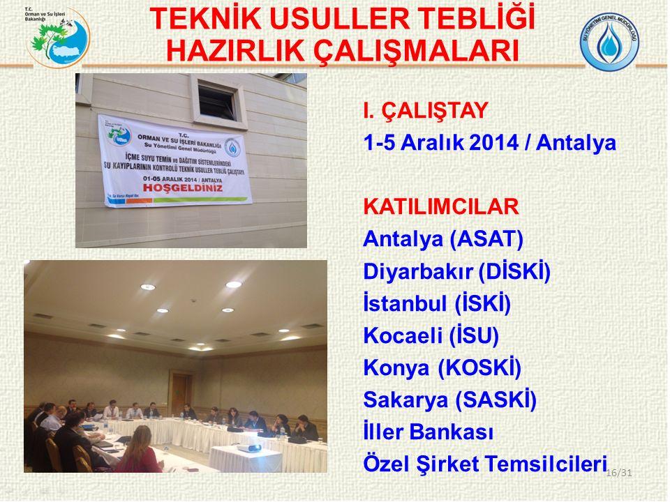 TEKNİK USULLER TEBLİĞİ HAZIRLIK ÇALIŞMALARI 16/31 I. ÇALIŞTAY 1-5 Aralık 2014 / Antalya KATILIMCILAR Antalya (ASAT) Diyarbakır (DİSKİ) İstanbul (İSKİ)