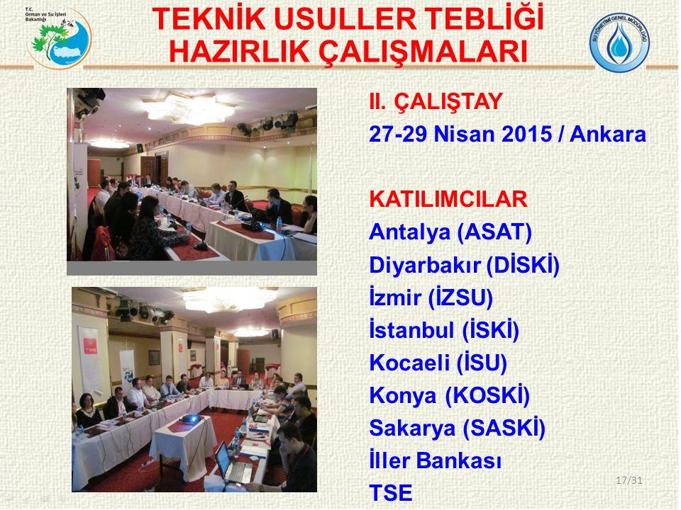 TEKNİK USULLER TEBLİĞİ HAZIRLIK ÇALIŞMALARI 17/31 II. ÇALIŞTAY 27-29 Nisan 2015 / Ankara KATILIMCILAR Antalya (ASAT) Diyarbakır (DİSKİ) İzmir (İZSU) İ