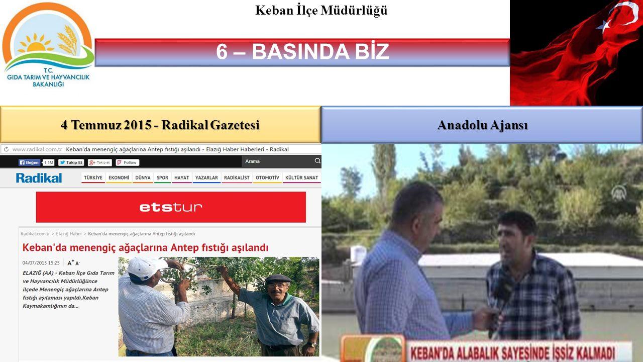 4 Temmuz 2015 - Radikal Gazetesi 6 – BASINDA BİZ Keban İlçe Müdürlüğü Anadolu Ajansı