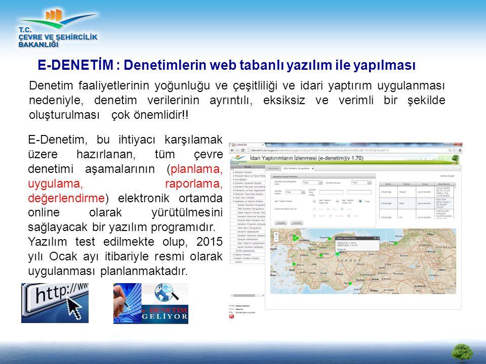 E-DENETİM : Denetimlerin web tabanlı yazılım ile yapılması Denetim faaliyetlerinin yoğunluğu ve çeşitliliği ve idari yaptırım uygulanması nedeniyle, denetim verilerinin ayrıntılı, eksiksiz ve verimli bir şekilde oluşturulması çok önemlidir!.