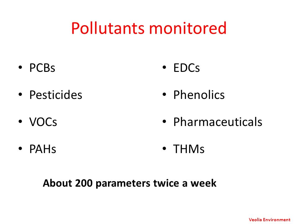 Pollutants monitored PCBs Pesticides VOCs PAHs EDCs Phenolics Pharmaceuticals THMs About 200 parameters twice a week Veolia Environment