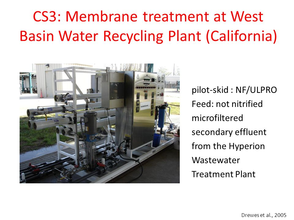 CS3: Membrane treatment at West Basin Water Recycling Plant (California) Drewes et al., 2005 pilot-skid : NF/ULPRO Feed: not nitrified microfiltered s
