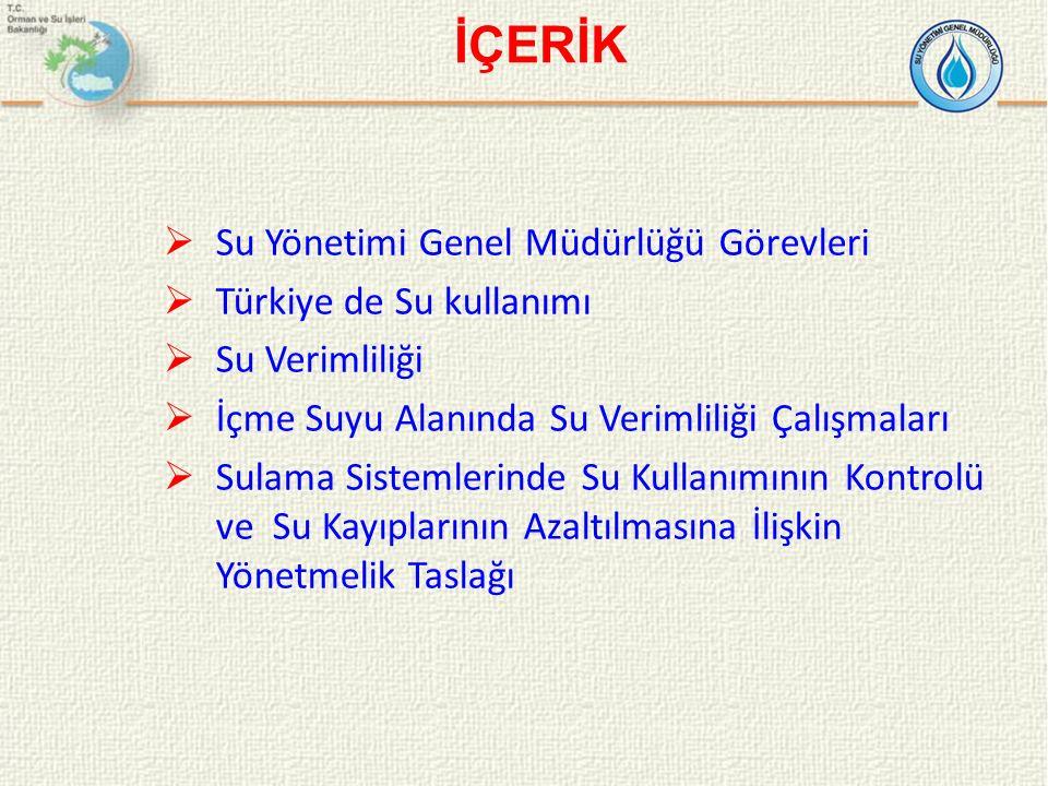  Su Yönetimi Genel Müdürlüğü Görevleri  Türkiye de Su kullanımı  Su Verimliliği  İçme Suyu Alanında Su Verimliliği Çalışmaları  Sulama Sistemleri