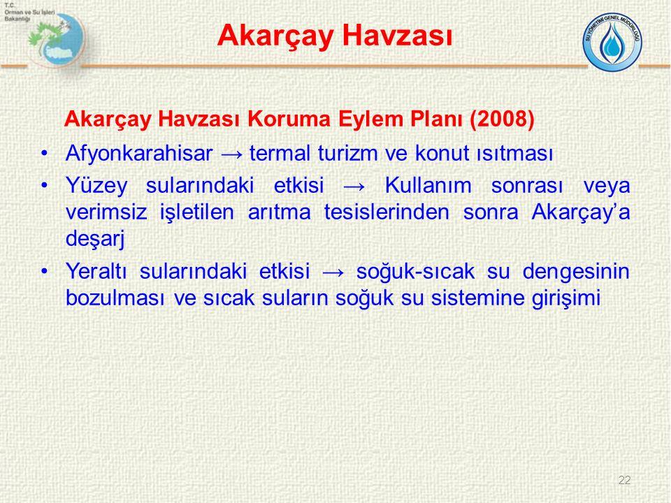 Akarçay Havzası Akarçay Havzası Koruma Eylem Planı (2008) Afyonkarahisar → termal turizm ve konut ısıtması Yüzey sularındaki etkisi → Kullanım sonrası