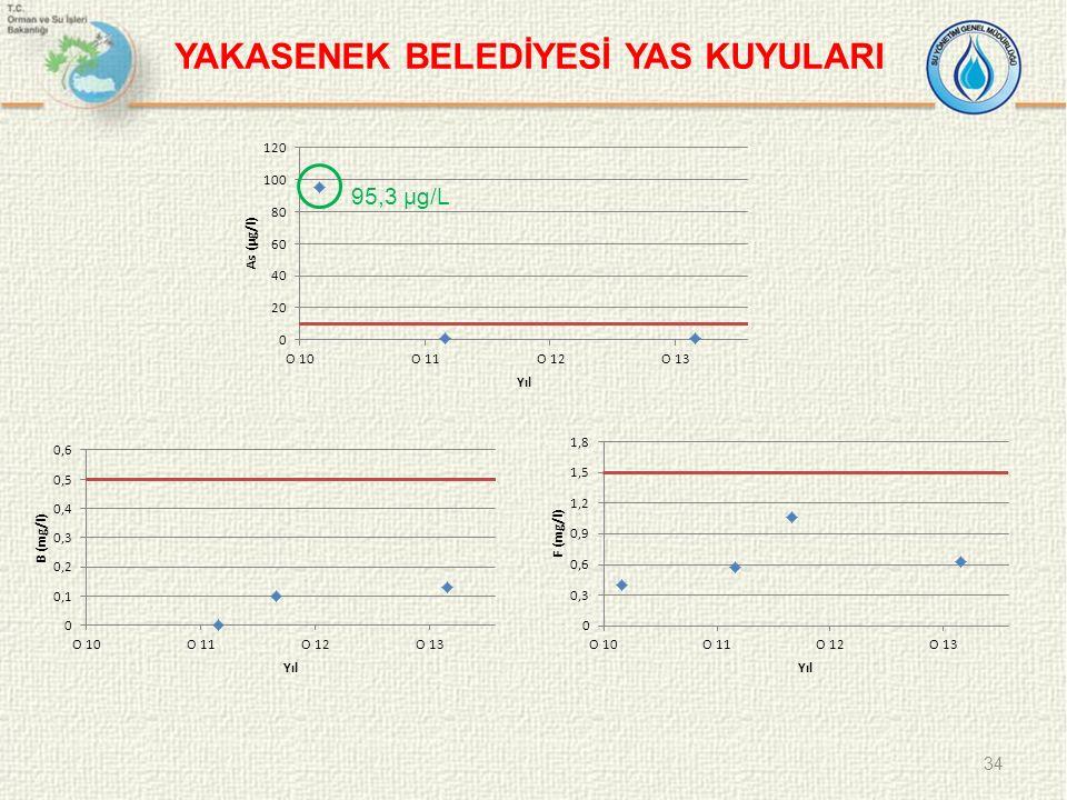 34 YAKASENEK BELEDİYESİ YAS KUYULARI 95,3 µg/L