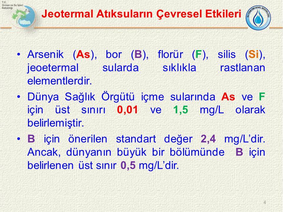 Jeotermal Atıksuların Çevresel Etkileri Arsenik (As), bor (B), florür (F), silis (Si), jeoetermal sularda sıklıkla rastlanan elementlerdir. Dünya Sağl