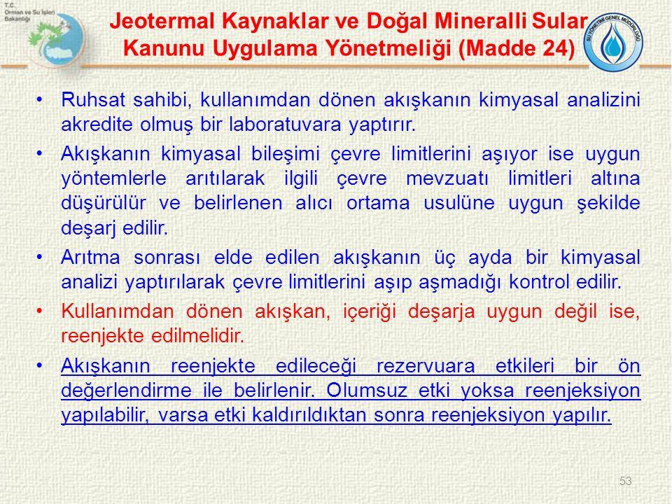 Jeotermal Kaynaklar ve Doğal Mineralli Sular Kanunu Uygulama Yönetmeliği (Madde 24) Ruhsat sahibi, kullanımdan dönen akışkanın kimyasal analizini akredite olmuş bir laboratuvara yaptırır.