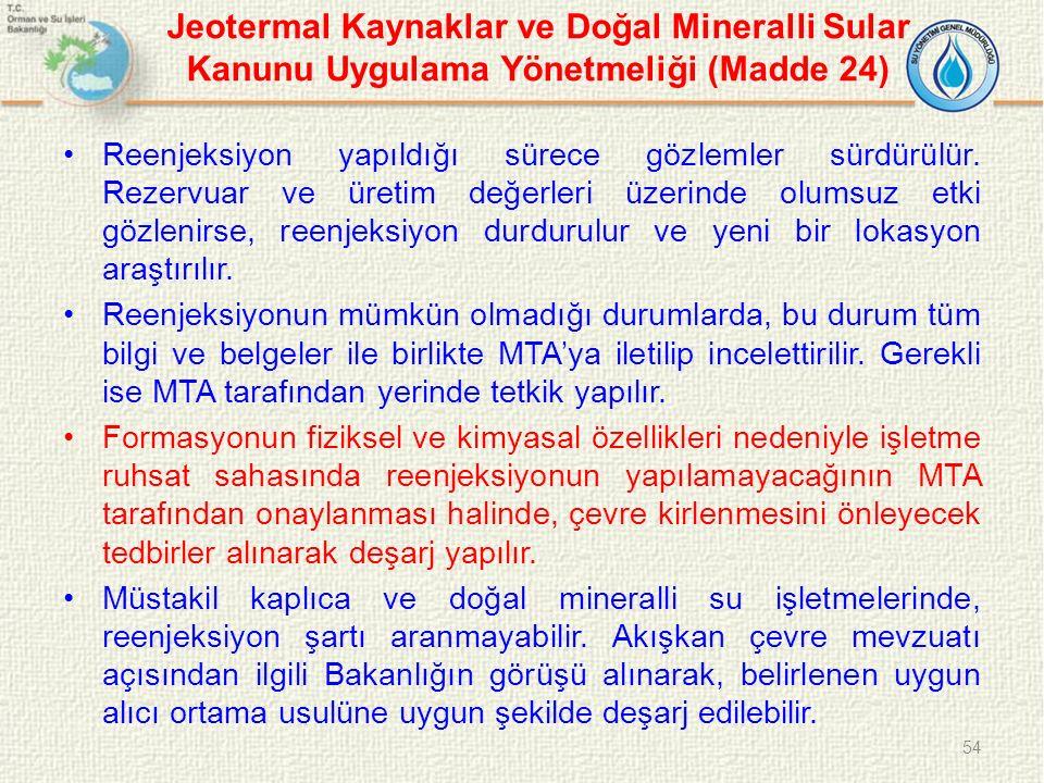 Jeotermal Kaynaklar ve Doğal Mineralli Sular Kanunu Uygulama Yönetmeliği (Madde 24) Reenjeksiyon yapıldığı sürece gözlemler sürdürülür. Rezervuar ve ü