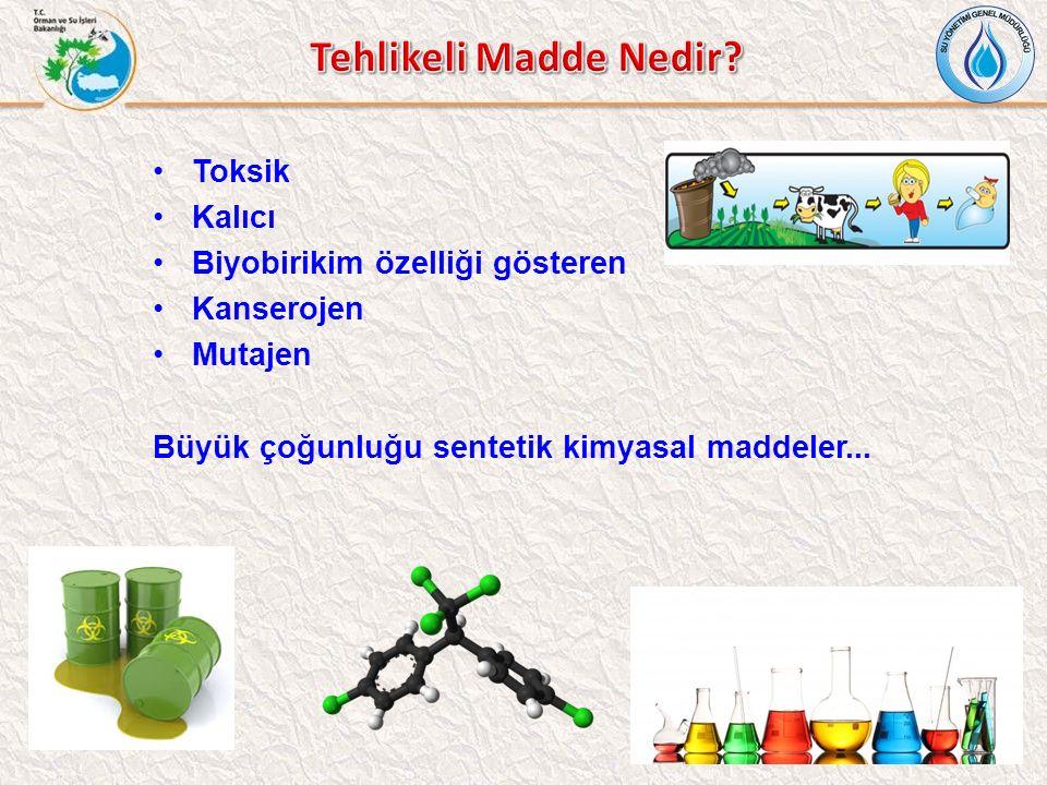 Toksik Kalıcı Biyobirikim özelliği gösteren Kanserojen Mutajen Büyük çoğunluğu sentetik kimyasal maddeler...