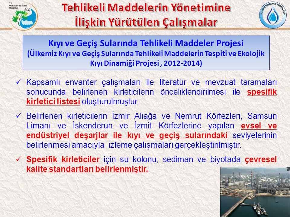 Kıyı ve Geçiş Sularında Tehlikeli Maddeler Projesi (Ülkemiz Kıyı ve Geçiş Sularında Tehlikeli Maddelerin Tespiti ve Ekolojik Kıyı Dinamiği Projesi, 2012-2014) Kapsamlı envanter çalışmaları ile literatür ve mevzuat taramaları sonucunda belirlenen kirleticilerin önceliklendirilmesi ile spesifik kirletici listesi oluşturulmuştur.