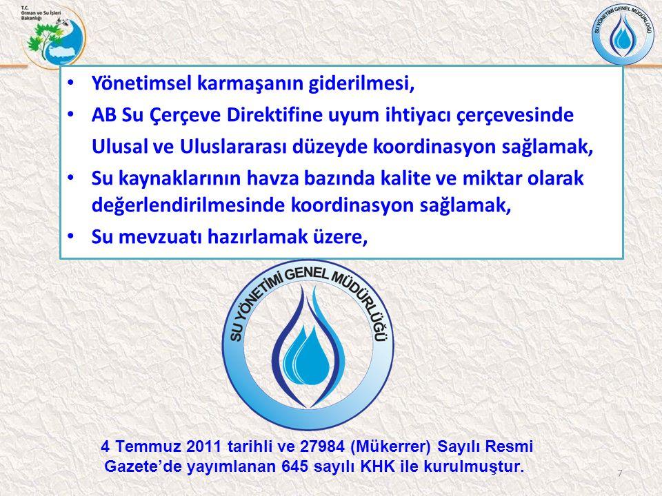 Yönetimsel karmaşanın giderilmesi, AB Su Çerçeve Direktifine uyum ihtiyacı çerçevesinde Ulusal ve Uluslararası düzeyde koordinasyon sağlamak, Su kaynaklarının havza bazında kalite ve miktar olarak değerlendirilmesinde koordinasyon sağlamak, Su mevzuatı hazırlamak üzere, 7 4 Temmuz 2011 tarihli ve 27984 (Mükerrer) Sayılı Resmi Gazete'de yayımlanan 645 sayılı KHK ile kurulmuştur.