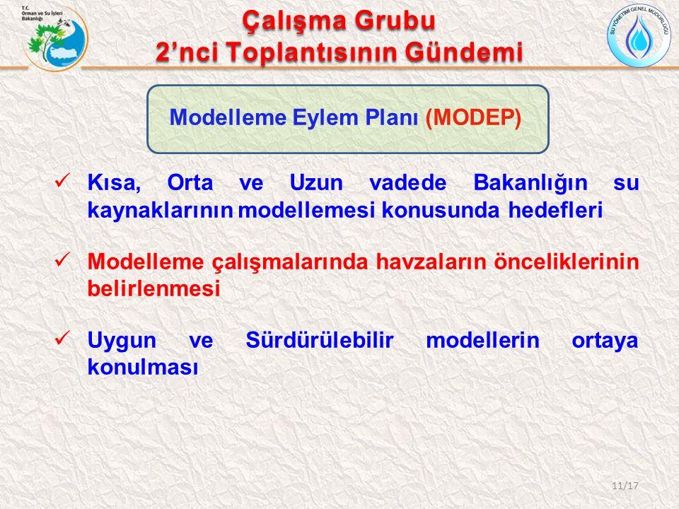 Modelleme Eylem Planı (MODEP) Kısa, Orta ve Uzun vadede Bakanlığın su kaynaklarının modellemesi konusunda hedefleri Modelleme çalışmalarında havzaları